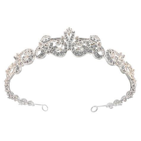 Regal Crystal Tiara with Pearl Touches