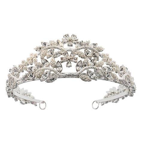 Crystal & Pearl Tiara with Floral Design - P672T-2