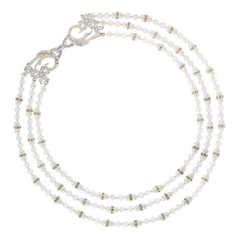 Crystal & Pearl Statement Necklace with Ornate Clasp