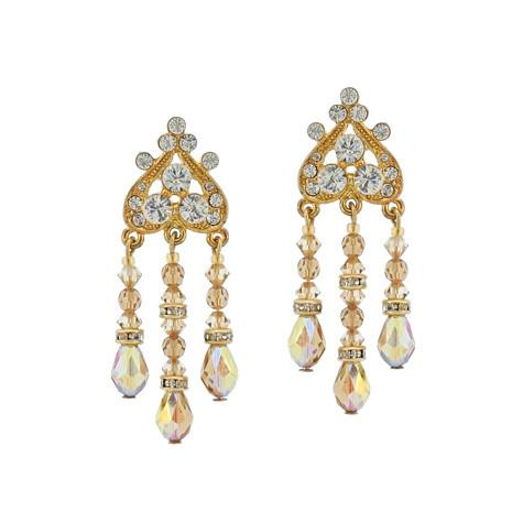 Champagne Chandelier Earrings with Teardrops - P8914ET-CH