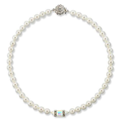 Pearl Bridal Necklace with Cube Center