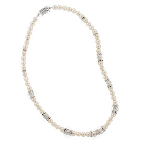Pearl Necklace with Silver Rondelles