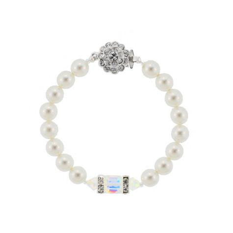 Pearl Bracelet with Iridescent Crystals