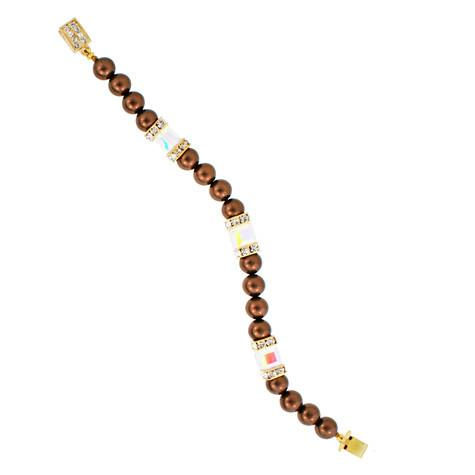 Brown Pearl Bracelet with Crystal Sections