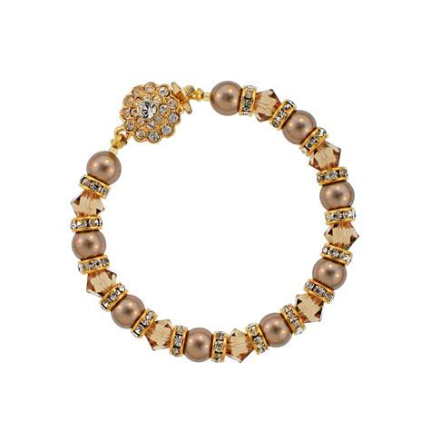Brown Pearl Bracelet with Champagne Crystal
