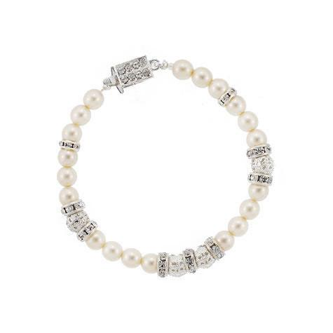 White Pearl Bridal Bracelet with Silver Sections