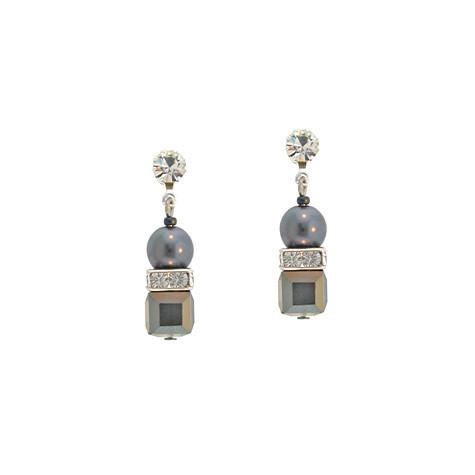 Gray Crystal Cube Earrings