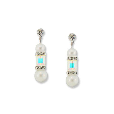 White Pearl & Iridescent Crystal Earrings