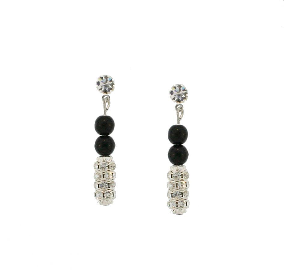 Black Pearl Drop Earrings with Pave Beads