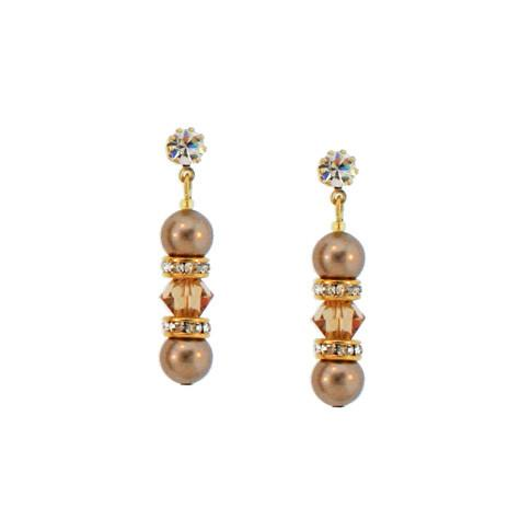 Beaded Champagne Crystal & Pearl Earrings