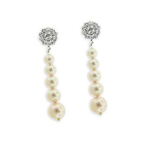 Graduated Pearl Earrings with Sparkle Top