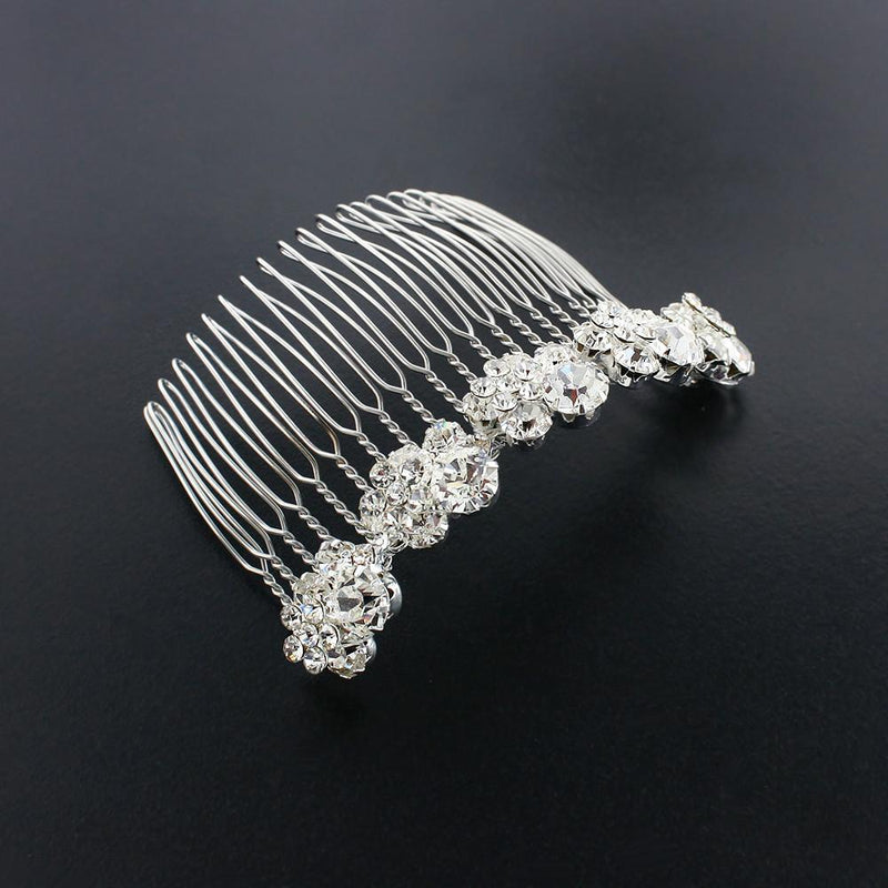Crystal Cluster Haircomb - silver