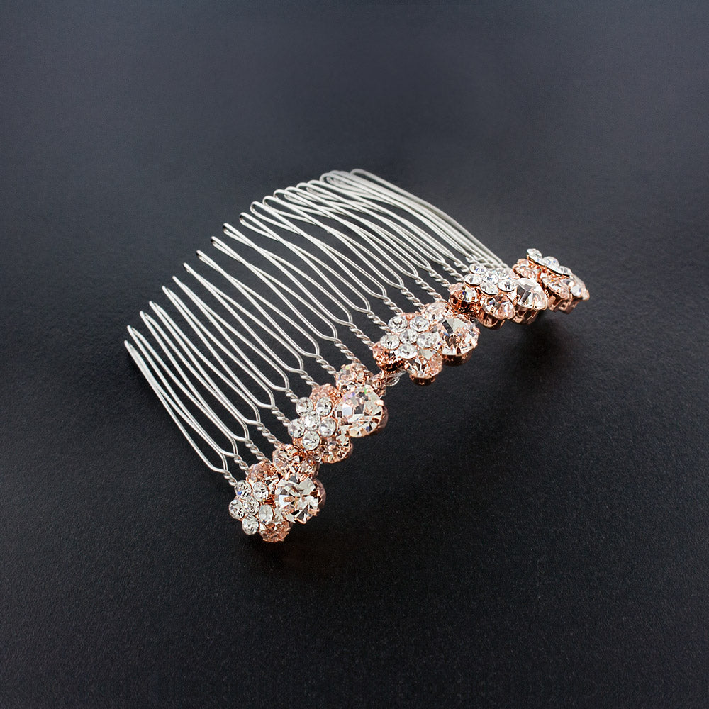 Crystal Cluster Haircomb - rose gold
