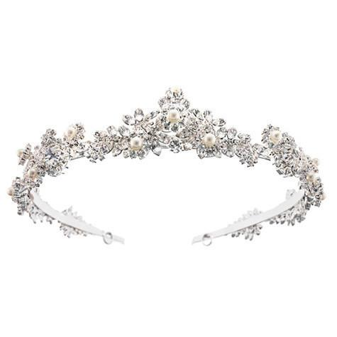 Bridal Headband with Pearl & Crystal