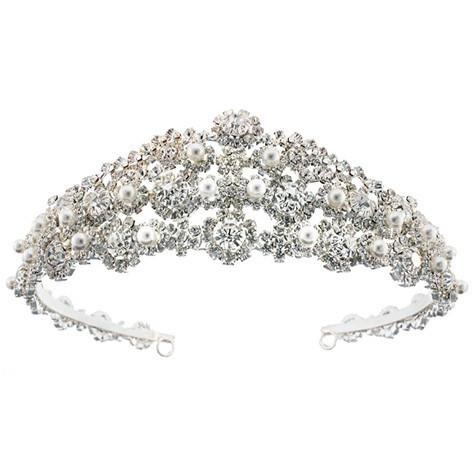 Elaborate Multi-Stoned Pearl Crystal Tiara