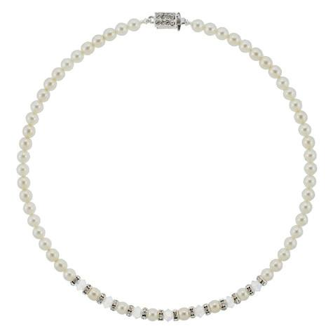 Pearl Bridal Necklace with Crystal & Rondelle Center