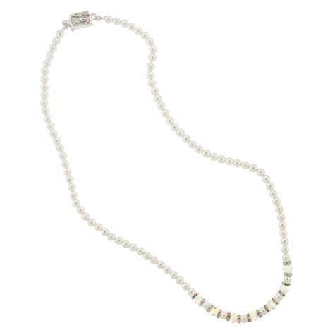 4mm Glass Pearl Bridal Necklace with Crystal Center Section - RCC7