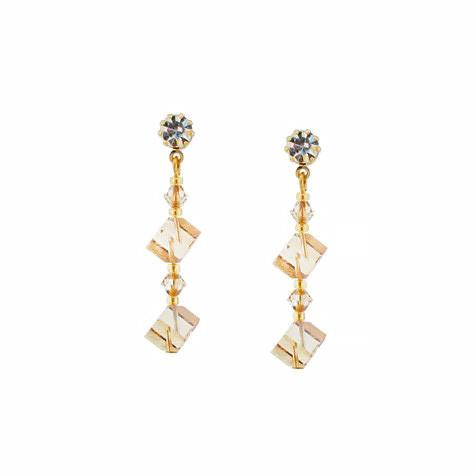 Champagne Crystal Cube Earrings