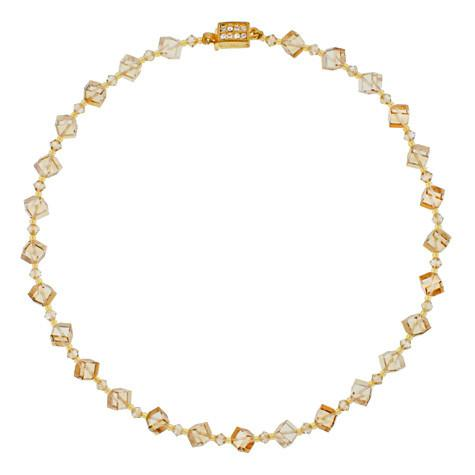 Champagne Crystal Cube Necklace