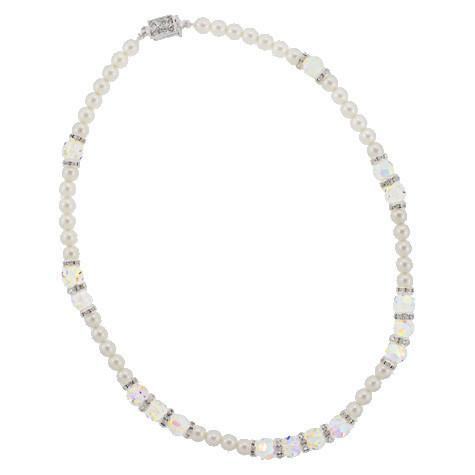 Pearl Necklace with AB Crystal Stations