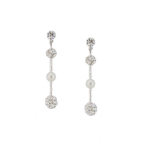 Simple Bridal Earrings with Rhinestone Beads