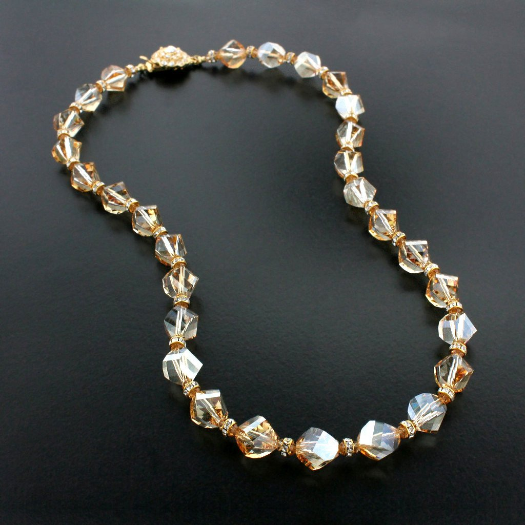 Beaded Champagne Crystal Necklace