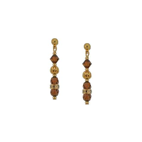 Dark Brown Crystal Bead Earrings