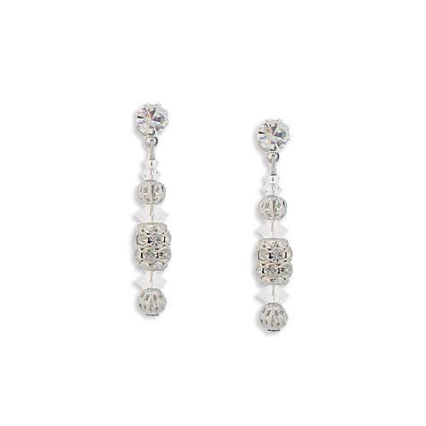 Beaded Drop Earrings with Pave Accents