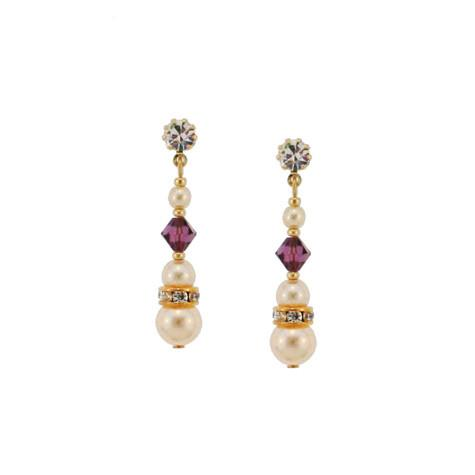 Beaded Pearl & Purple Crystal Earrings
