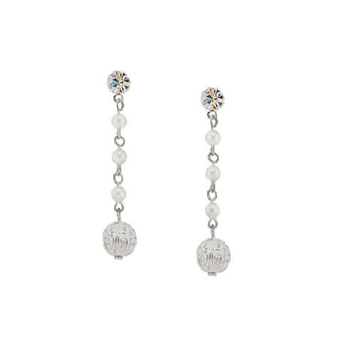 Pearl Chain Earrings with Filigree Ball