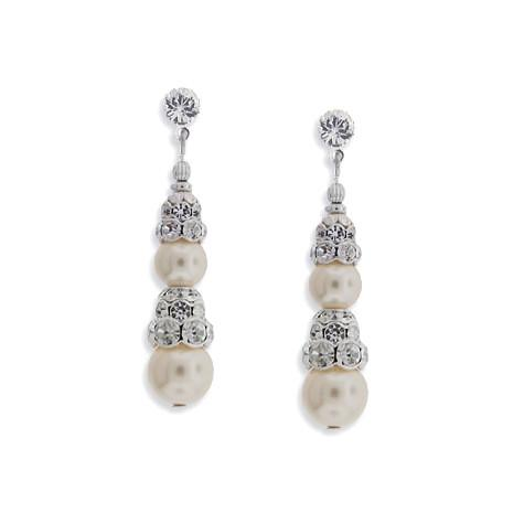 Pearl Earrings with Tiered Rondelles