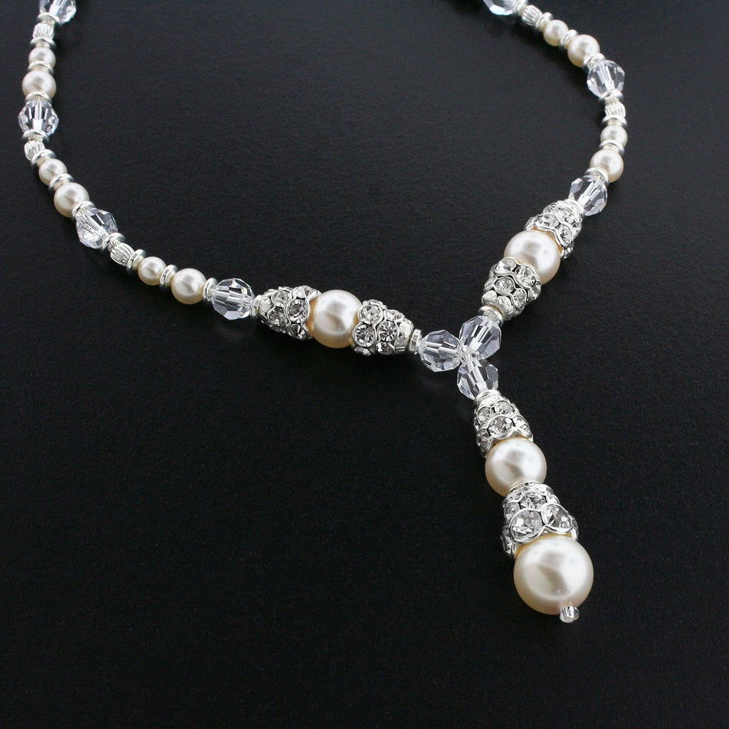 Crystal & Pearl Bridal Necklace with Drop