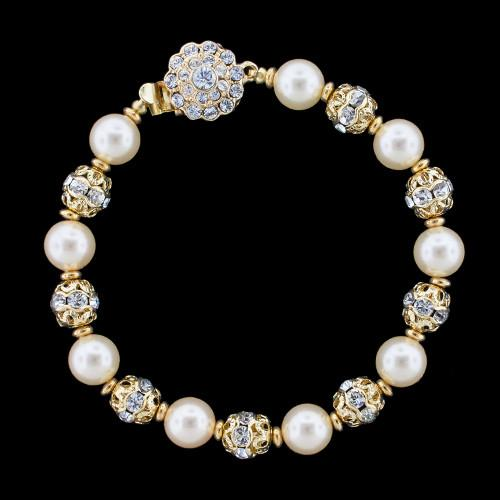 Pearl Bridal Bracelet with Crystal Accents