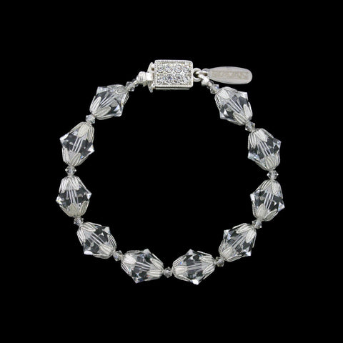 Crystal Bead Bracelet with Silver Accents