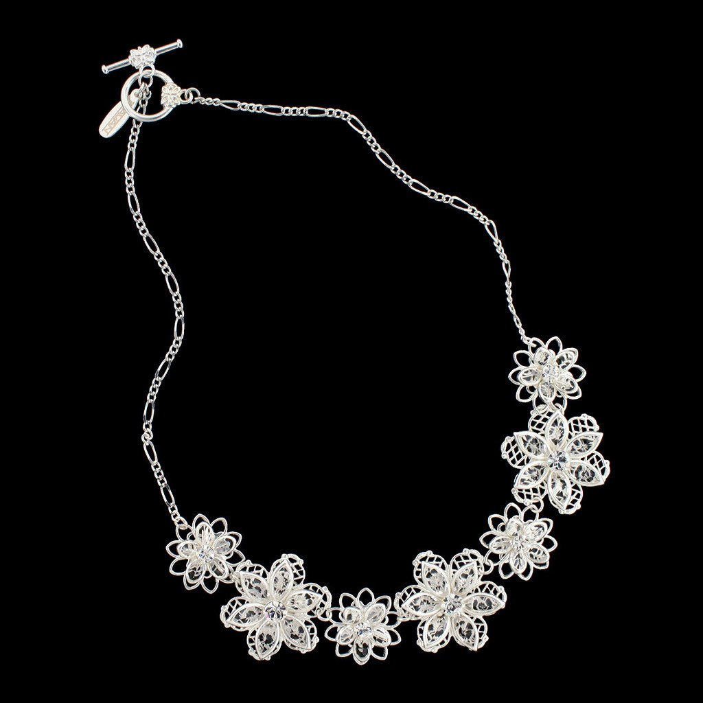 Floral Crystal Necklace with Chain