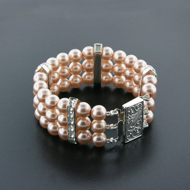 3 Row Dark Rose Pearl Bracelet with Princess Cut Crystals