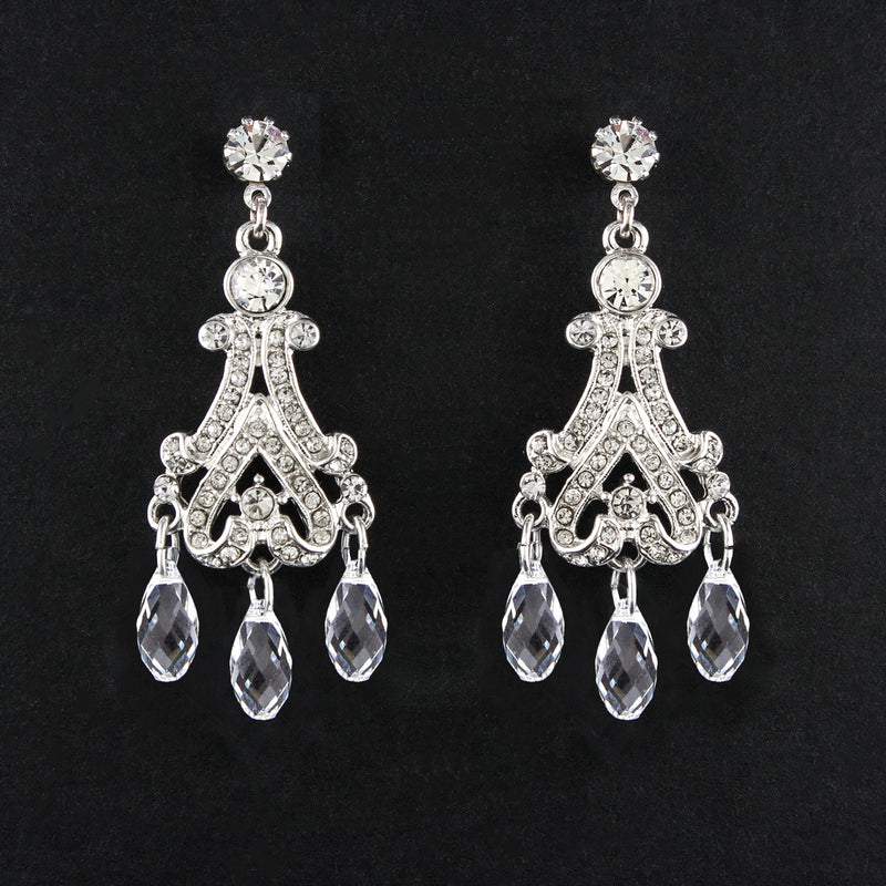 Victorian Chandelier Earrings with Crystal Drops - version 2