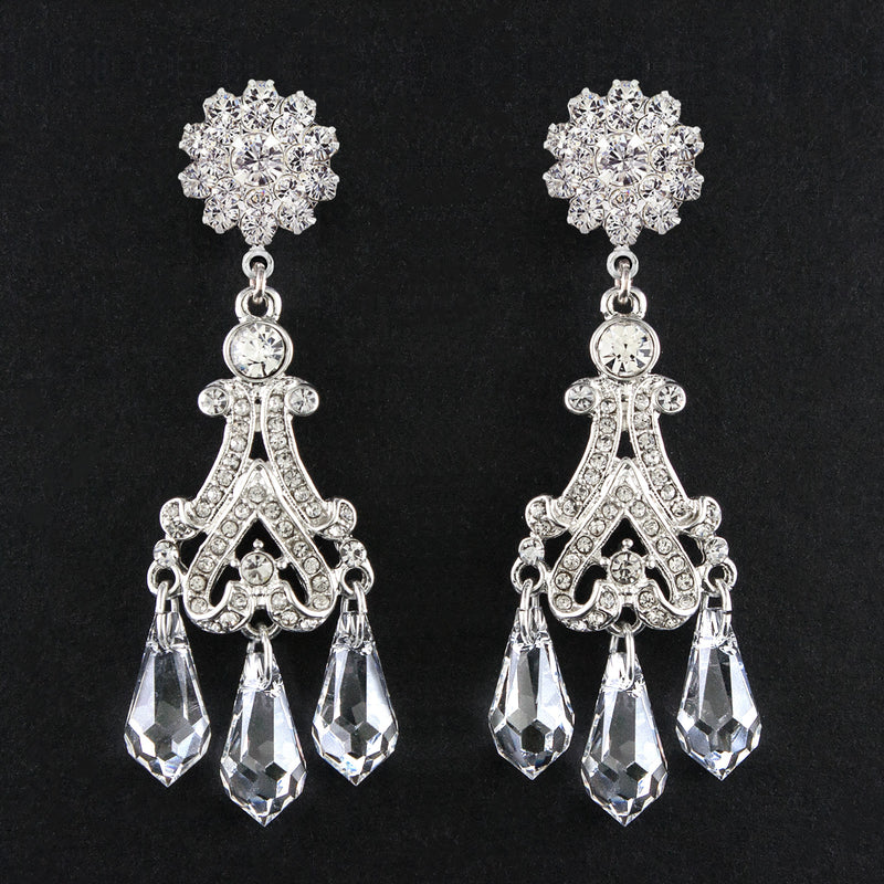 Victorian Chandelier Earrings with Crystal Drops - flower top