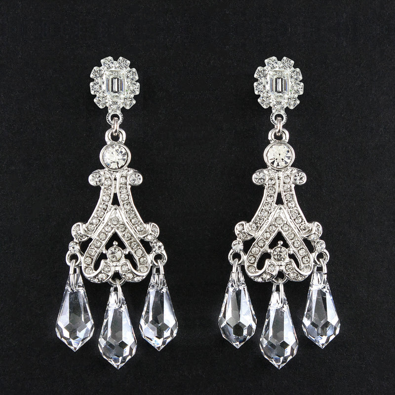 Victorian Chandelier Earrings with Crystal Drops