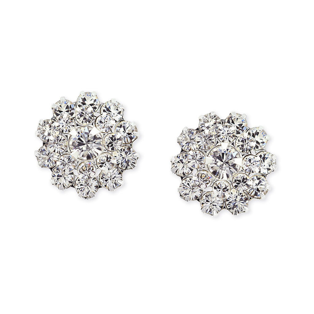 Round Crystal Cluster Earrings
