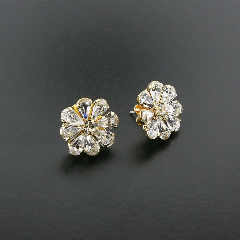 Stud Earrings with Pear-Cut Crystals
