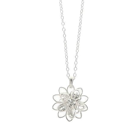 Small Crystal Flower Pendant on Chain