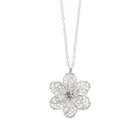 Flower Pendant with Filigree