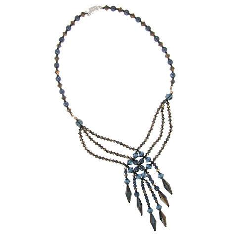 Woven Crystal Necklace in Shades of Dark Blue