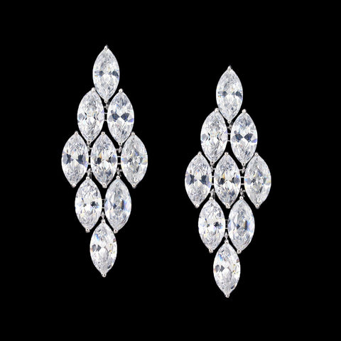 Long CZ Earrings with Marquise Stones