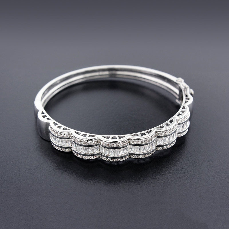 Scalloped CZ Bangle Bracelet