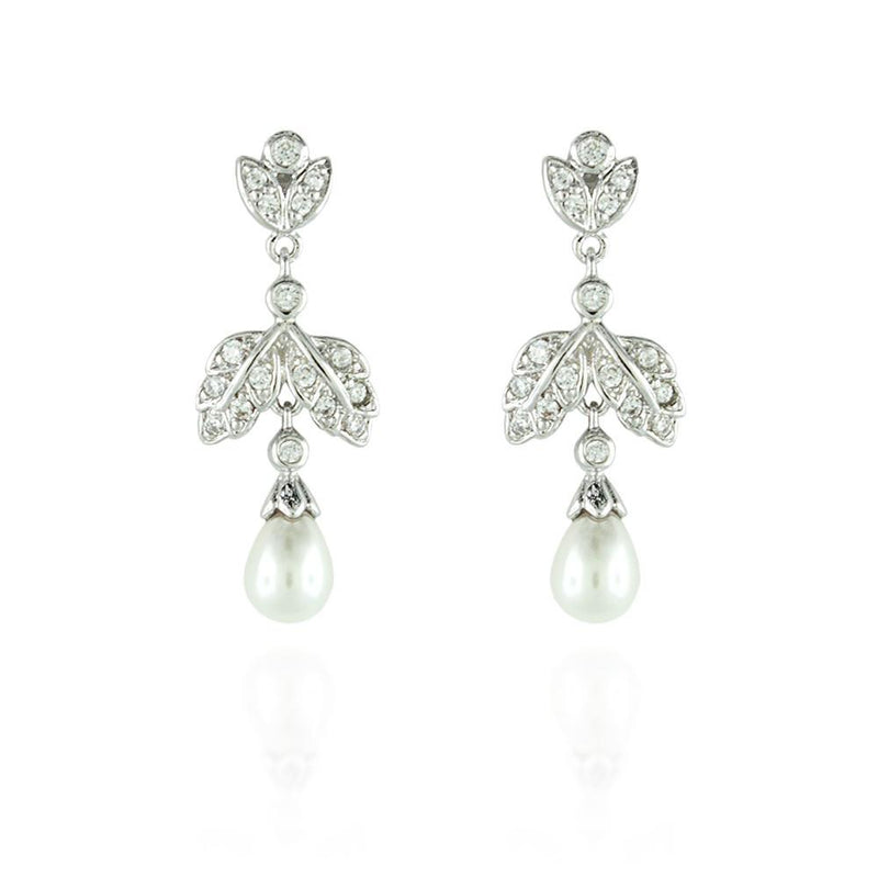 Pearl Drop CZ Earrings