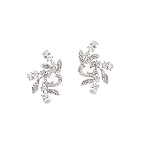 CZ Earrings with Spiral Effect