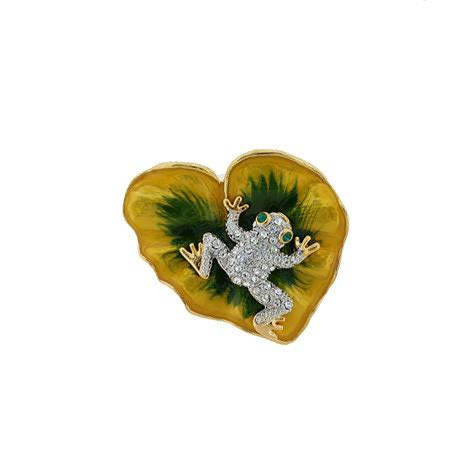 Frog on Heart-Shaped Lily Pad Brooch