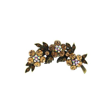 Floral Light Brown Crystal Broach